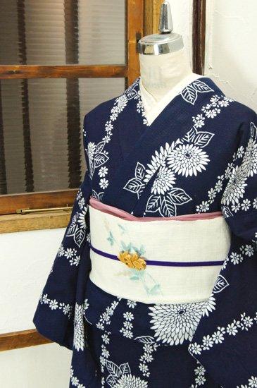 濃紺と白の花つなぎよろけ縞美しい綿紅梅注染レトロ浴衣