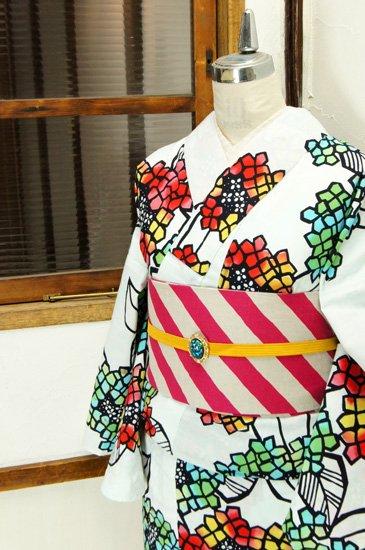 白地に色硝子のような紫陽花模様美しい注染レトロ浴衣
