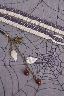 正絹夏帯揚・帯締セット(蜘蛛と蛛の巣・藤鼠色)