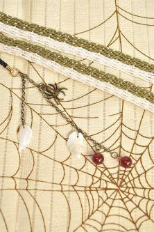 正絹夏帯揚・帯締セット(蜘蛛の巣に木の葉・象牙草緑)