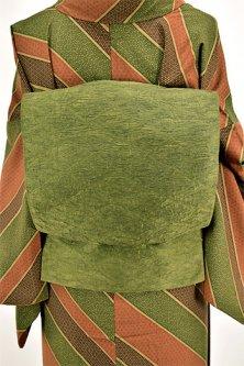 柳染色菱文様ふくれ織り洒落袋帯