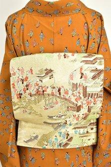 江戸錦絵橋と船の名所風景小粋な袋帯