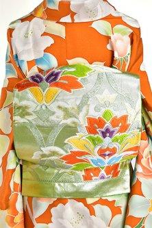 フロスティシルバーグリーンにトレリス・アラベスク美しい袋帯