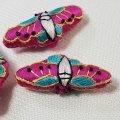 ノリゲ用手刺繍の飾り(蝶)ピンク+コバルトブルー
