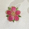 手刺繍のパーツ33  桃色の花