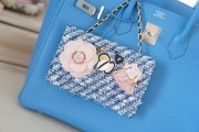 Blueツイード(PinkFlower)minibag