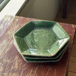 緑釉六角皿
