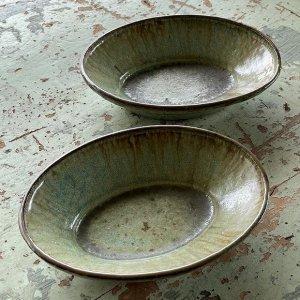 緑釉オーバル深鉢