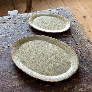 ひび粉引オーバル皿 5寸