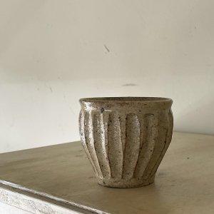粉引削りカップ