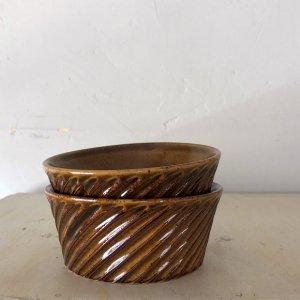 飴釉台形鉢