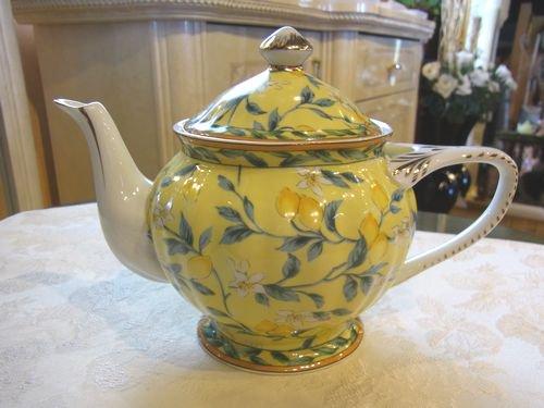 陶器製*ティーポット*レモン*茶こし付き*2.3人用