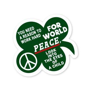 座右の銘 ステッカー (どうして世界が平和でなければいけないのか?答えは子供の瞳の中に)Lサイズ 車