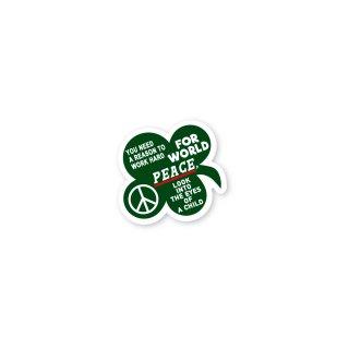 座右の銘 ステッカー (どうして世界が平和でなければいけないのか?答えは子供の瞳の中に)Sサイズ スマホ