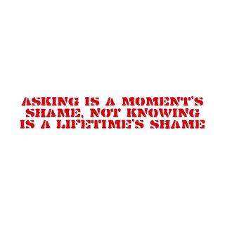 聞くは一時の恥、聞かぬは一生の恥  | コトワザ ステンシル 転写ステッカー | PST008