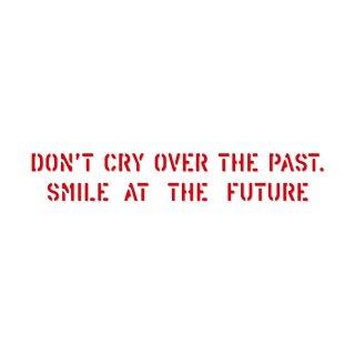 過去を振り返って嘆くのではなく、未来に向かって微笑もう!| コトワザ ステンシル 転写ステッカー | PST054