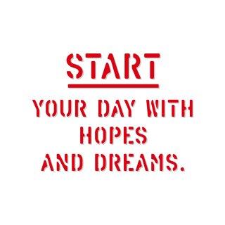 希望と夢でリセットして1日をスタートしよう|  コトワザ ステンシル 転写ステッカー スクエア | STD400−10