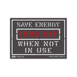 ミリタリー ステンシル デザイン サイン&ラベルズ(節電;使わない時は消して下さい)|  MSLB-002-MED-A