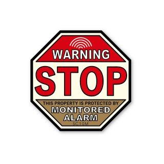 セキュリティーラベル(警告;止まれ・監視しています)|  ミディアム サイズ