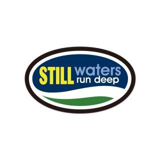 静かに流れる水は深い   コトワザステッカー PS147