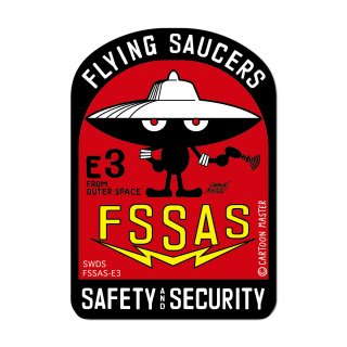 FLYING SAUCERS SAFETY AND SECURITY ステッカー/ E3 / CARTOON MASTER
