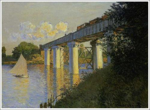 モネ「アルジャントゥイユの鉄道橋(鉄橋)」
