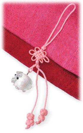 ストラップ 福豚 トンボ玉(B)根付け[財運・金運]富を象徴する縁起物のブタ
