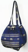 金糸織りゾウさんバッグ(ネイビー)[近所へのお買い物やランチバッグに、何かと便利なバルーンバッグ]