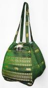 金糸織りゾウさんバッグ(エバーグリーン)[近所へのお買い物やランチバッグに、便利なバルーンバッグ]