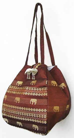 金糸織りゾウさんバッグ(ブラウン)[近所へのお買い物やランチバッグに、便利なバルーンバッグ]