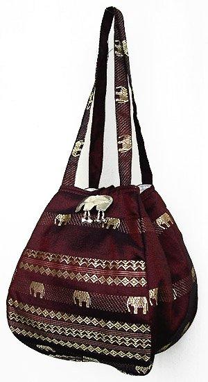 金糸織りゾウさんバッグ(プラム) 【近所へのお買い物やランチバッグに、何かと便利なバルーンバッグ】