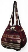 金糸織りゾウさんバッグ(プラム)[近所へのお買い物やランチバッグに、何かと便利なバルーンバッグ]