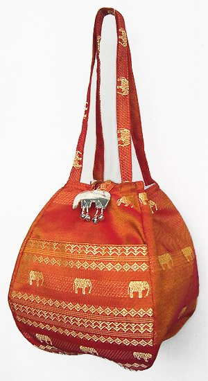 金糸織りゾウさんバッグ(バーントオレンジ) 【近所へのお買い物やランチバッグに、何かと便利】