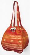金糸織りゾウさんバッグ(バーントオレンジ)[近所へのお買い物やランチバッグに、何かと便利]