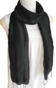 手紡ぎ シルク スカーフ 単色(ブラック)[肌に優しい天然素材、使い回せるロングタイプ165cm]