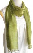 手紡ぎ シルク スカーフ 単色(カーキ)[肌に優しい天然素材、使い回せるロングタイプ165cm]