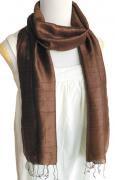 手紡ぎ シルク スカーフ 単色(ブラウン)[肌に優しい天然素材、使い回せるロングタイプ165cm]