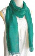 手紡ぎ シルク スカーフ 単色(エメラルド)[肌に優しい天然素材、使い回せるロングタイプ165cm]