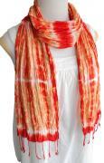 手紡ぎ シルク むら染め クリンクル スカーフ(A)[肌に優しい天然素材★使い回せるロングタイプ]