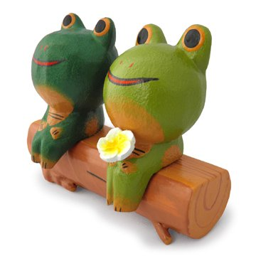 木彫り 蛙  切り株カップルカエル[ラブラブモード発動中ペア動物中の一番人気、贈り物にも]