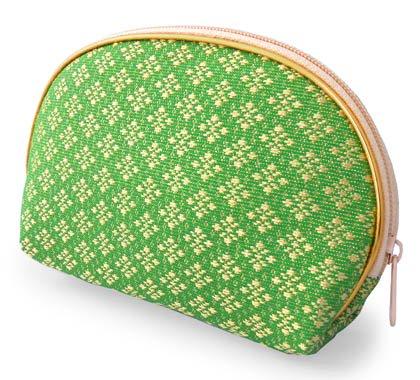 金糸織り化粧ポーチ(A)[バッグの中でもすぐに見つかる華やかさ★メイクアップ用品や小物の収納に]
