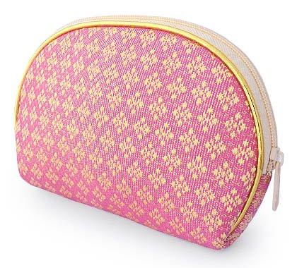 金糸織り化粧ポーチ(C)[バッグの中でもすぐに見つかる華やかさ★メイクアップ用品や小物の収納に]