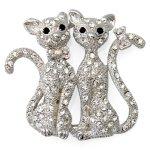ブローチ ねこ 仲良し猫 クリスタル ラインストーン 動物 モチーフ 猫好き 猫マニア ギフト