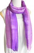 手紡ぎ シルク グラデーション スカーフ(パープル)[肌に優しい柔らか質感使い回せるロング165cm]