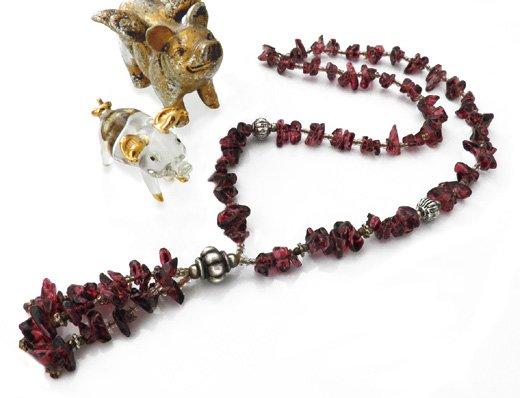 パワーストーンヘッド付きネックレス(ガーネット)[健康運・人間関係運・達成運]心身を活性化