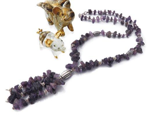 パワーストーンヘッド付きネックレス(アメジスト)[人気運・恋愛運・結婚運]意識を覚醒、魅力を引き出す