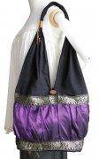 ショルダーバッグ シルク素材 タック&ギャザー 肩掛けバッグ 布バッグ(パープル)[A4サイズ 収納 通勤 通学 旅行 レジャー]