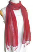 ロウシルク 無地 スカーフ(赤)[肌に優しいナチュラルシルク、日差し除けや紫外線対策、襟元防寒にお役立ち]