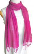 ロウシルク 無地 スカーフ(オペラピンク)[肌に優しいナチュラルシルク、日差し除けや紫外線対策、襟元防寒にお役立ち]