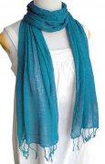 ロウシルク 無地 スカーフ(青)[肌に優しいナチュラルシルク、日差し除けや紫外線対策、襟元防寒にお役立ち]
